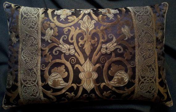 Lumbar Throw Pillow Cushion Cover Silk Lampas by OggettiVeneziani