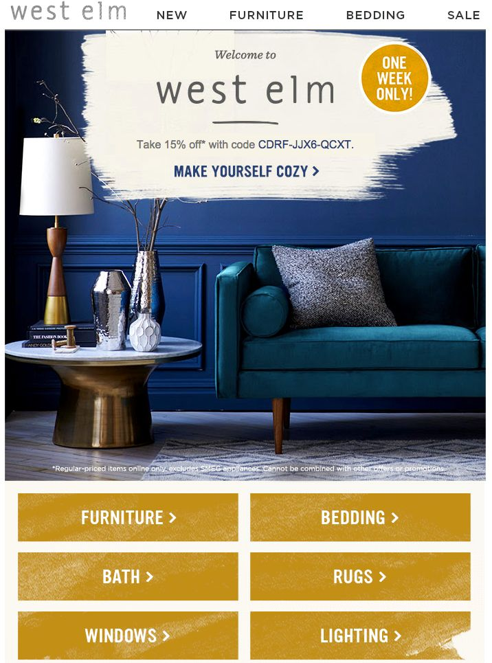 West Elm wraps up a million reasons to click in one elegant email. Find more on welcome-email design here http://emaildesign.beefree.io/2015/09/10-tips-welcome-email-design/