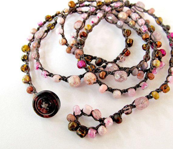 """Crochet wrap bracelet or necklace, beaded, """"petals"""", pink, brown, bohemian jewelry, crochet jewelry, fiber jewelry, fall fashion, ooak"""