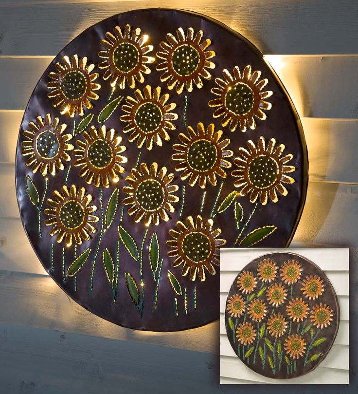 lighted sunflower recycled oil drum lid wall art garden