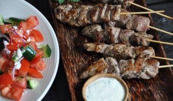 Greek pork skewers