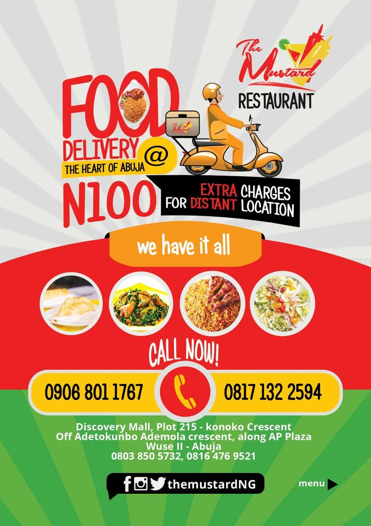 Food Delivery Flyer Design For The Mustard Restaurant