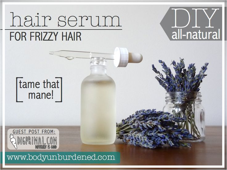 DIY All-Natural Hair Serum For Frizzy Hair 2 oz castor oil 10 drops rosemary essential oil (optional) 10 drops lavender essential oil (optional but highly recommended) Small glass jar