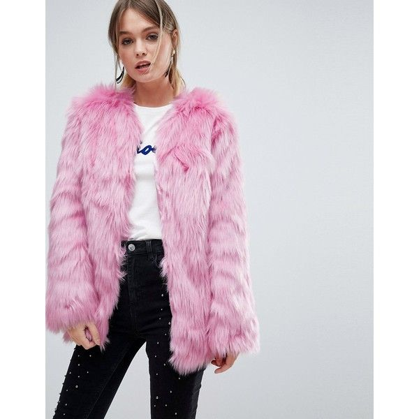 Miss Selfridge Faux Fur Coat ($125) ❤ liked on Polyvore featuring outerwear, coats, pink, fake fur coat, miss selfridge, miss selfridge coats, pink fake fur coat and pink faux fur coat