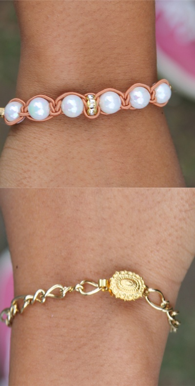 Small Gold Pearls 2 by: MICHELLESPRACKMAN.  $12.00 (CAD)  - Hand made in Toronto, Canada  - Faux pearls braided  - Vintage clasps  - All gold plated metal components  - Click image to englarge  FREE INTERNATIONAL SHIPPING WITH PURCHASE