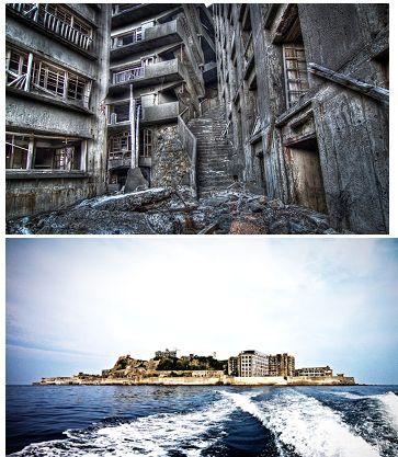 Ilha Hashima, Japão - O local era rico em carvão, e a ilha abrigava mais de 5.000 mineiros. Mas quando a gasolina substituiu o carvão como principal fonte de combustível no país, a ilha foi abandonada