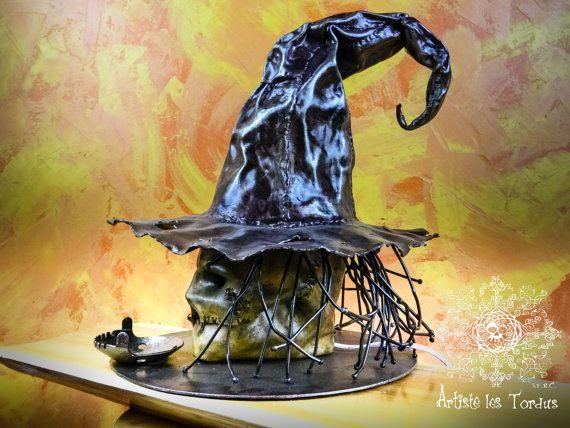 Lamp gardian leather iron forged  Night watchmanr,gift, lamp,metal,light,macabre, zombi,sculpture,halloween, bizarre,skull,gothic,handmade