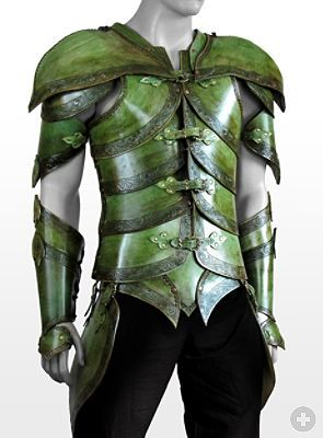emerald green leather elf elven armor armour gauntlets fashion cosplay costume LARP LRP clothing clothes equipment gear magic item | Create your own roleplaying game material w/ RPG Bard: www.rpgbard.com | Writing inspiration for Dungeons and Dragons DND D&D Pathfinder PFRPG Warhammer 40k Star Wars Shadowrun Call of Cthulhu Lord of the Rings LoTR + d20 fantasy science fiction scifi horror design | Not Trusty Sword art: click artwork for source