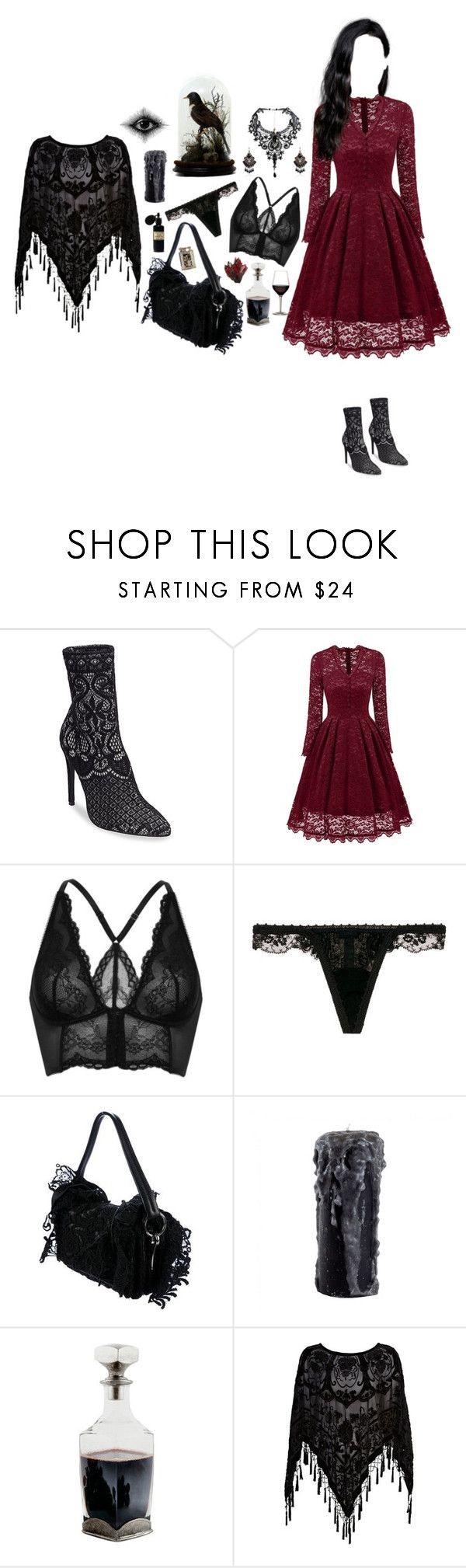 """""""Lace"""" by mel0ody ❤ liked on Polyvore featuring Steve Madden, Gossard, La Perla, Prada, Mad et Len and River Island"""