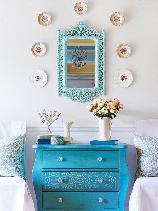 Old patterned plates are a gorgeous (and inexpensive) way to add a personal touch to your walls! More house tour photos here: http://www.bhg.com/decorating/decorating-style/cottage/blue-cottage/?socsrc=bhgpin061814treasurechest&page=4