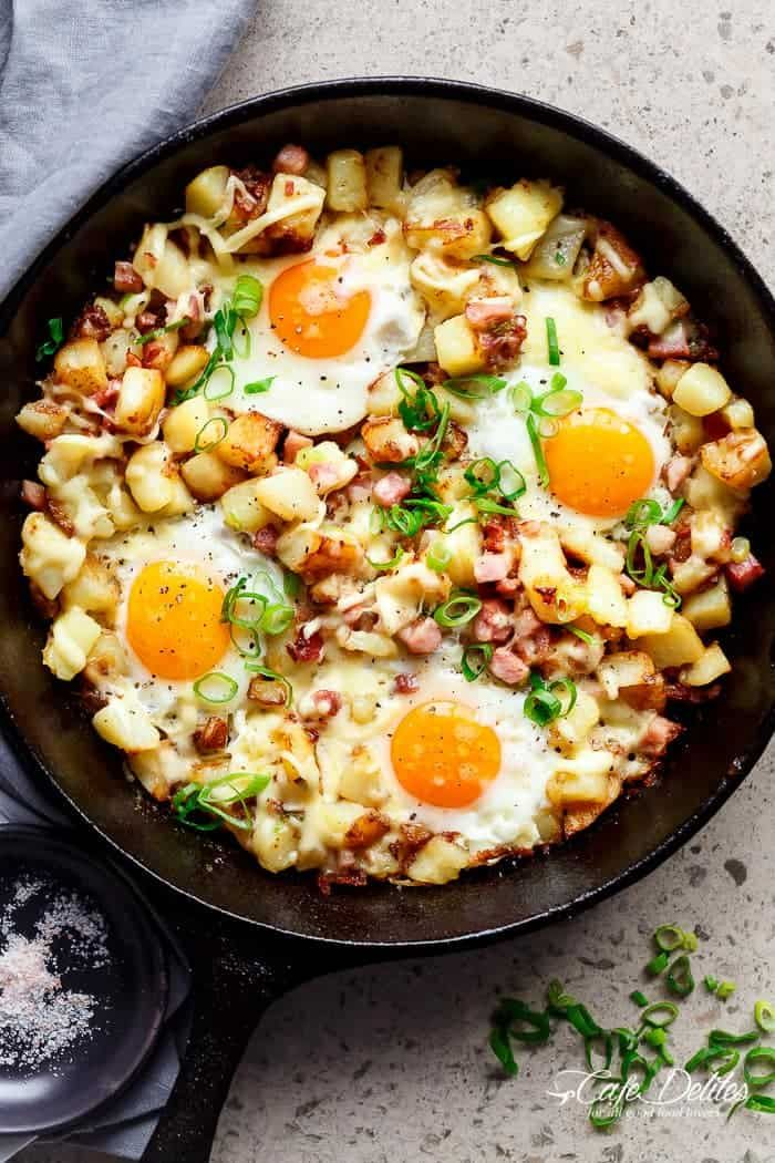 Cheesy Bacon and Egg Hash for breakfast, brunch, lunch or dinner! Easy to make and ready in 30 minutes -- all in one skillet or pan!   https://cafedelites.com