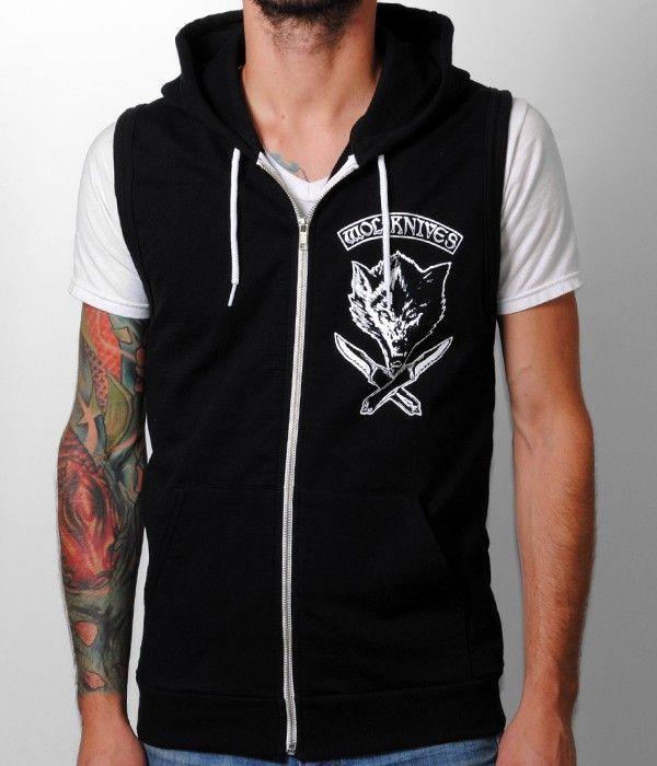 Jason Ellis Wolfknives Sleeveless Zip Hooded Sweatshirt