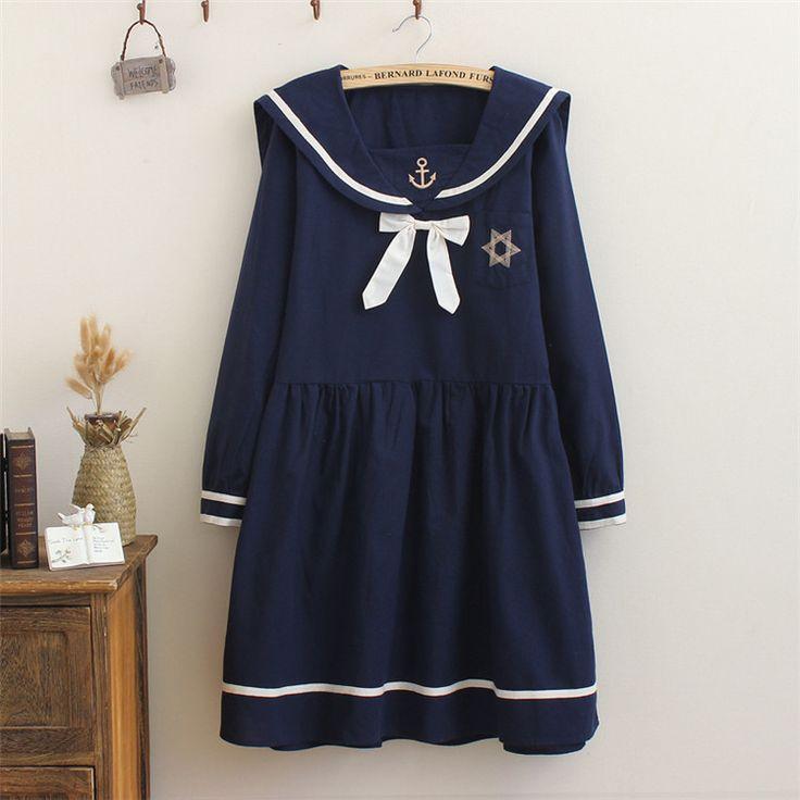 "Japanese student navy bowknot sailor uniform  dress Coupon code ""cutekawaii"" for 10% off"