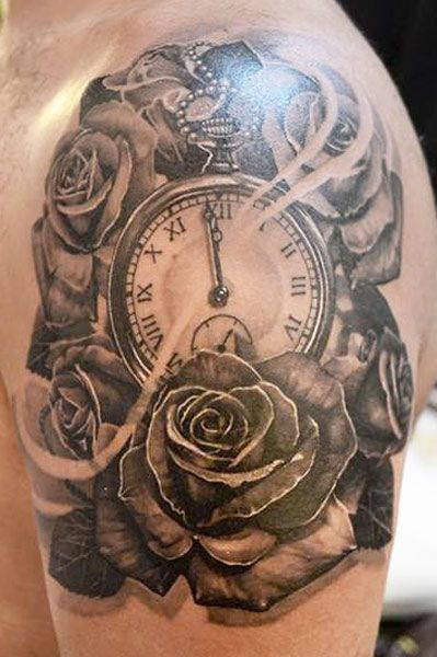 47a5d89127976 Clock and Roses tattoo by Elvin Yong Tattoo | Tattoo Artists | Time tattoos,  Rose tattoos, Tattoos