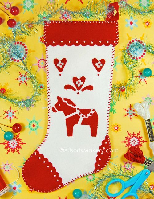 Freebie pattern ~ Swedish Dala Horse Stocking - allsorts