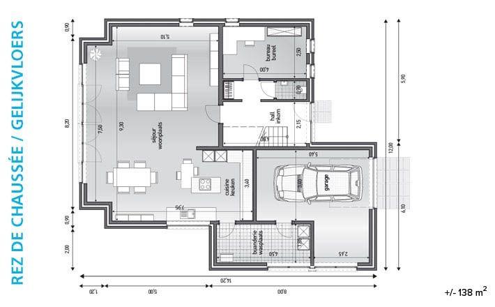 Plattegrond architect woning google zoeken plattegrond for Kostprijs huis bouwen zonder grond