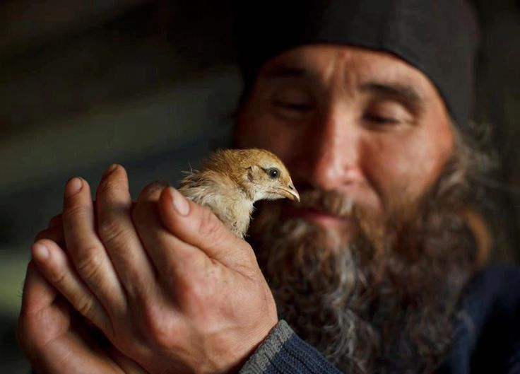 An Christian Orthodox monk with a bird!