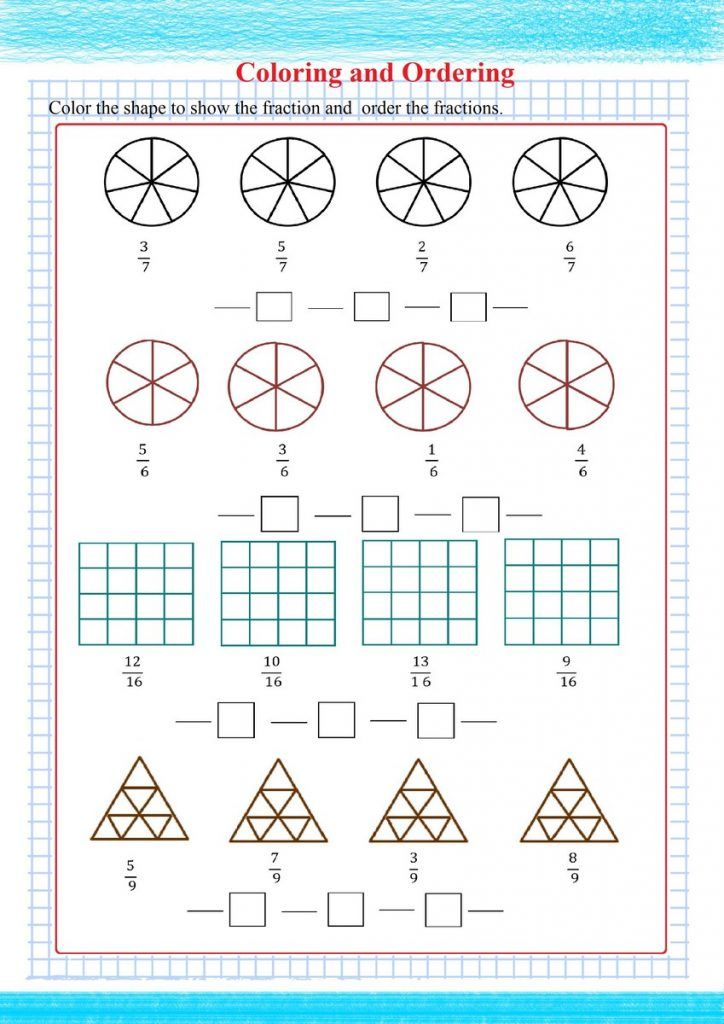 Ordering Fractions   Free Math Worksheets   Fractions ...