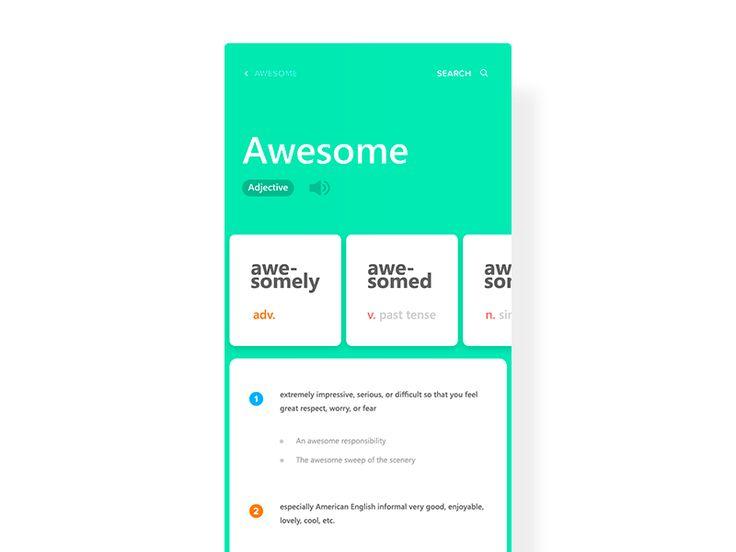 Dictionary Application by Aryana Shakibaei #Design Popular #Dribbble #shots