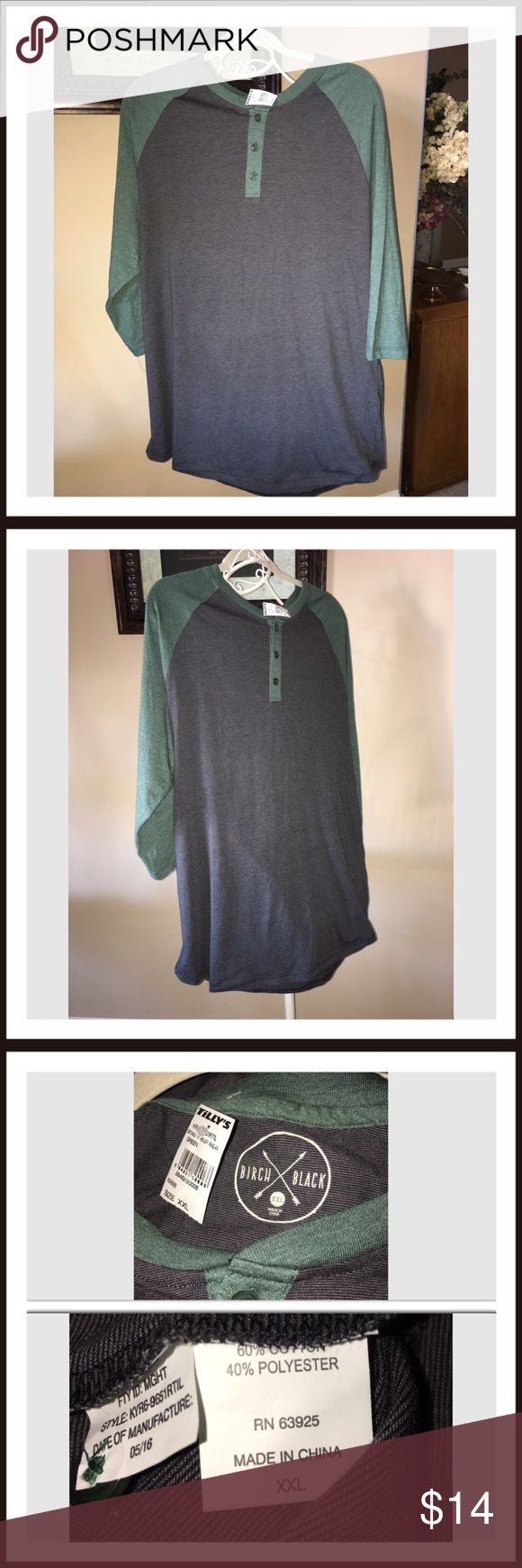 Tillys Men's BIRCH BLACK Raglan Mens Henley XXL Tillys Men's BIRCH BLACK Raglan Mens Henley XXL. This is new with tags. Tilly's Shirts Tees - Long Sleeve