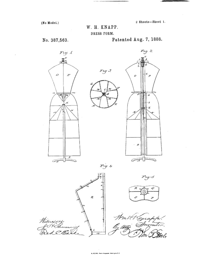 1888 patent us387563 - dress-form