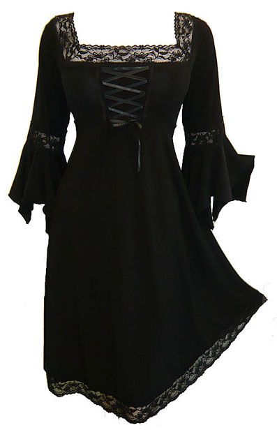 Plus Size Black Gothic Renaissance Corset Dress [FD01B] - $54.99 : Mystic Crypt, the most unique, hard to find items at ghoulishly great prices!