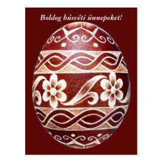 Hungarian traditional easter egg, postcard