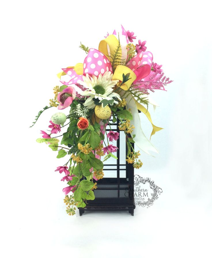 Easter Lantern Swag with Wild Flowers and Eggs in Pink & Yellow Pink ...
