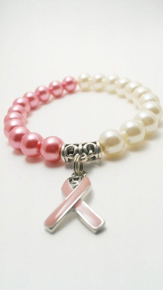 Cancer Awareness Bracelet / Pink Ribbon Bracelet / Cancer Charm Bracelet / Pink Ribbon Charm / Pulsera Perla