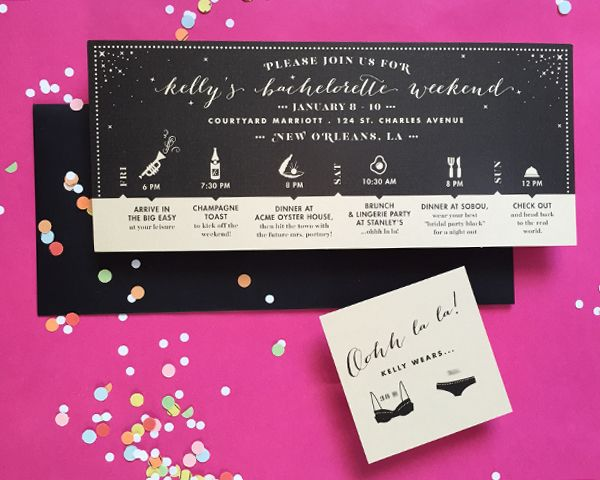 Let the Good Times Roll! New Orleans Bachelorette Party Itinerary   Gold & Black Invitations