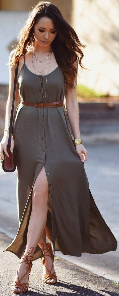 #street #style #womens #fashion #spring #outfitideas | Taupe maxi shirt dress |Hapa Time