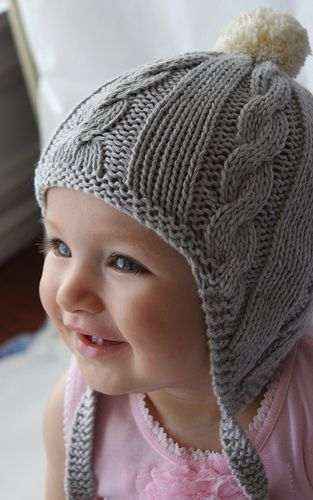 Cabled knit baby earflap hat