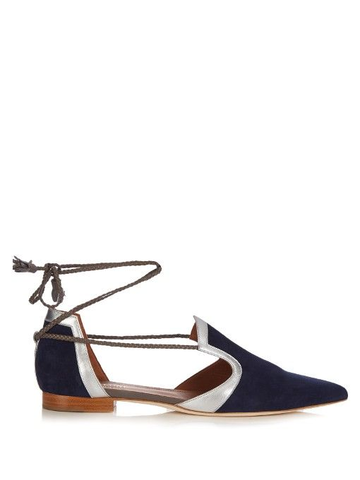 MALONE SOULIERS Haji Lace-Up Suede Flats. #malonesouliers #shoes #flats
