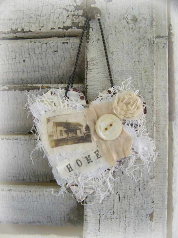 Shabby White Heart Ornament Vintage Collage Vintage Mixed Media Cottage Style Heart Wall Hanging Antique Paper Heart 3 by 5