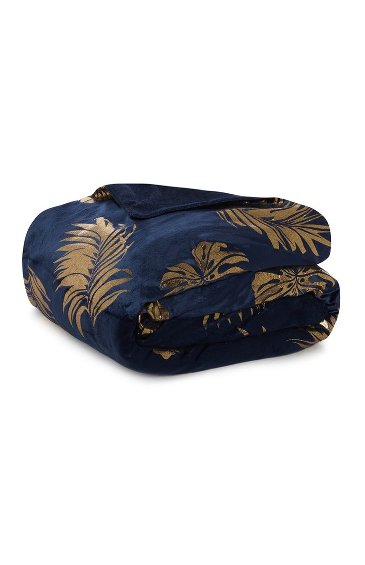 Primark - Blue and Gold Leaf Print Throw