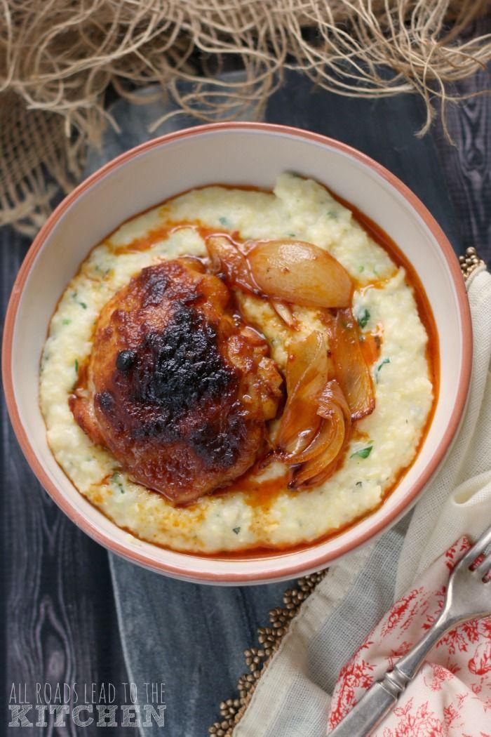 Paprika Roast Chicken over Mamaliga