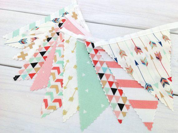 Bunting Banner, Girl Nursery Decor, Birthday Decoration - Coral Pink,Blush Pink,Mint Green,Gold,Aztec Nursery,Tribal Nursery,Arrow