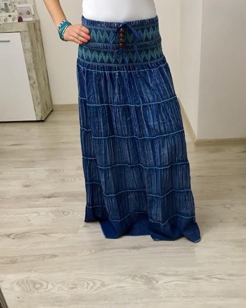 Maxi sukňa jeans tyrkys