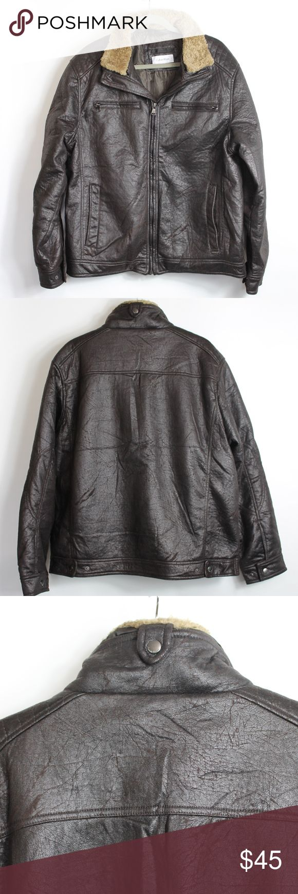 """Calvin Klein Aviator Bomber Jacket Calvin Klein Aviator Bomber Jacket  This jacket is in good used condition. There are no flaws.  Measurements are approximate:  Shoulder to Shoulder 20"""" Armpit to Armpit 24"""" Sleeve 25"""" Length from Collar 29""""  Material - 100% Polyester Calvin Klein Jackets & Coats"""