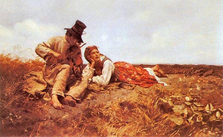 """Józef Chełmoński, """"Sielanka (Przed burzą)"""", 1885."""
