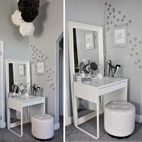 Love & Lace: Hello Beautiful: My Ikea Dressing Area + Vanity  Ikea Micke Desk 50.00 used as vanity! Has drawer to hold makeup. Perfect for my small Master! Would use ikea spice racks on wall to hold hair products and hooks to hang my blowdryer and straightener!