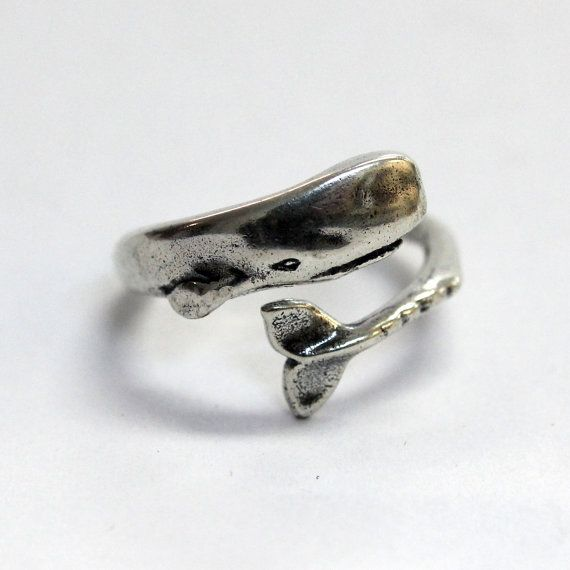 Silver Moby Dick Whale Ring in Solid White Bronze with Sterling Overlay Sperm Whale Ring on Etsy, $40.00