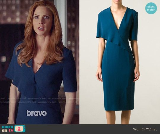 Donna's blue overlay dress on Suits.  Outfit Details: http://wornontv.net/51096/ #Suits