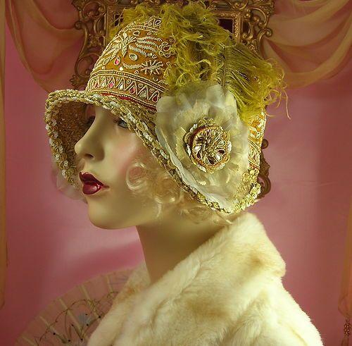 1920's vintage style white gold feather Floral rhinestone cloche flapper.