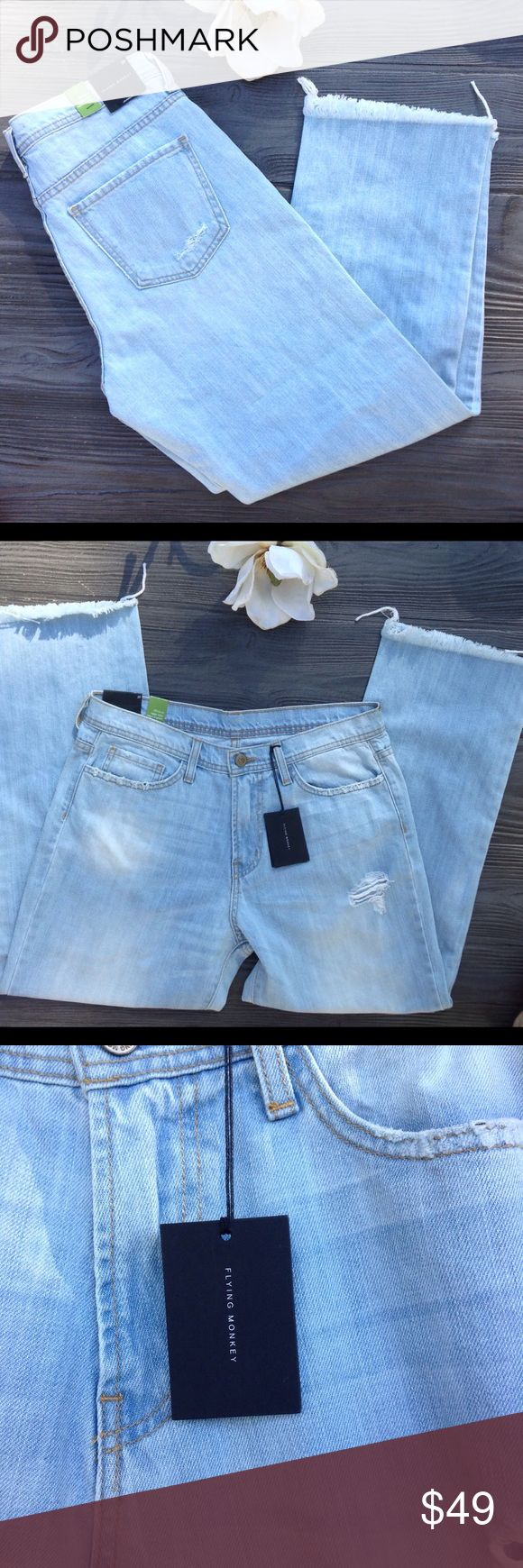 Flying Monkey distressed Ankle  mom Jean 29 NWOT. Flying monkey high rise light wash ankle straight. factory destructed Jean. Waist 16 in. Across. Rise 10.5 in. Inseam 26 in.  100% cotton     #A49 Flying Monkey Jeans Straight Leg
