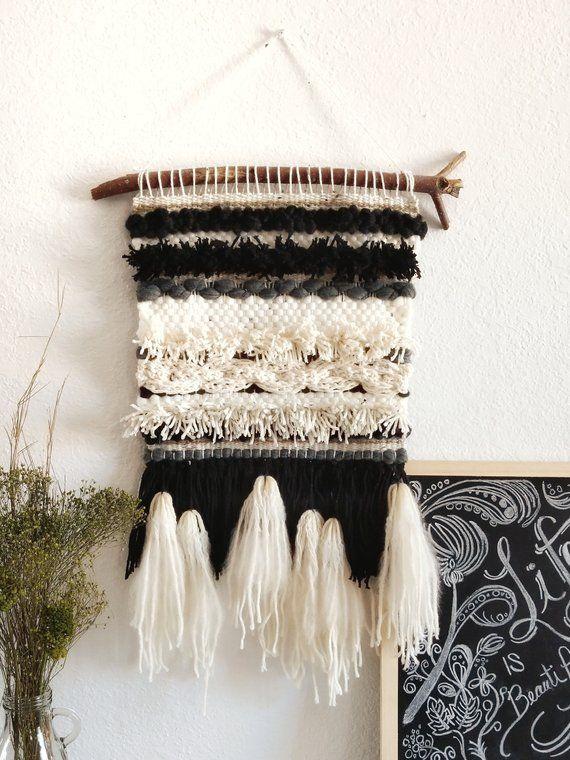 Black White Cream Woven Wall Hanging Fringe Tapestry Boho Decor