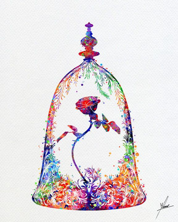 Best Beauty And The Beast Enchanted Rose Watercolor Art 640 x 480