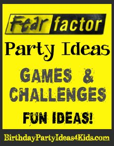 Fear Factor themed birthday party ideas!  Fun Fear Factor games, challenges, activities and ideas for invitations, decorations and more!   Great for boys and girls, kids, tweens and teens ages 6, 7, 8, 9, 10, 11, 12, 13, 14, 15, 16, 17 years old.   http://birthdaypartyideas4kids.com/fear-factor-party.htm #fear #factor #party
