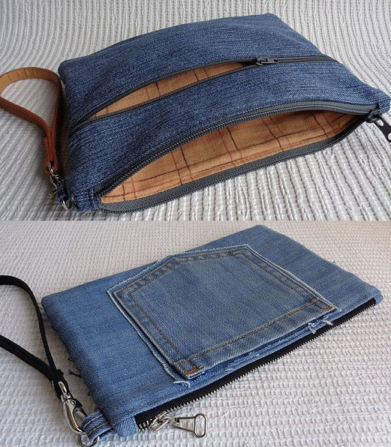 Denim wristlet clutch make up cosmetic zipper bag por BukiBuki