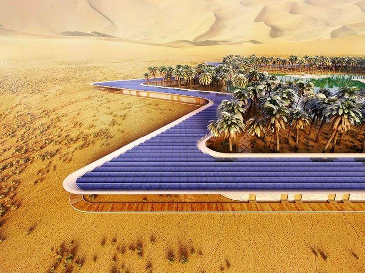 Otra maravilla arquitectónica se construirá en el desierto de Emiratos Árabes Unidos. Se trata del Oasis #EcoResort, un proyecto impresionante equipado por 14.585 m2 de paneles solares, produciendo suficiente energía para alimentar el complejo de 780 m2.
